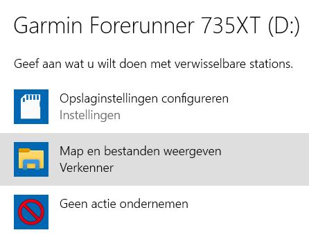 Garmin Forerunner koppelen aan PC en opladen: verkenner mappen