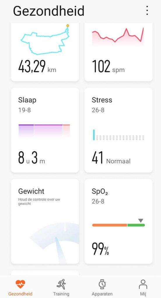 App gezondheid GT2e Sport horloge smarwatch dasboard
