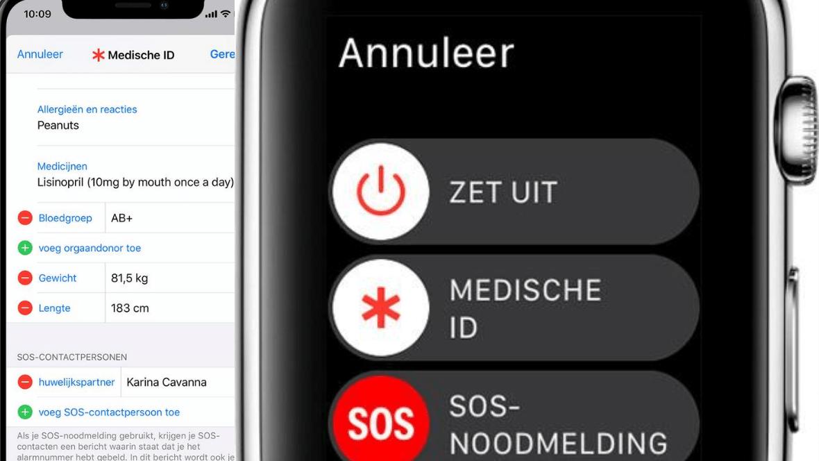 SOS melding Apple Watch nood valdetectie medisch ID
