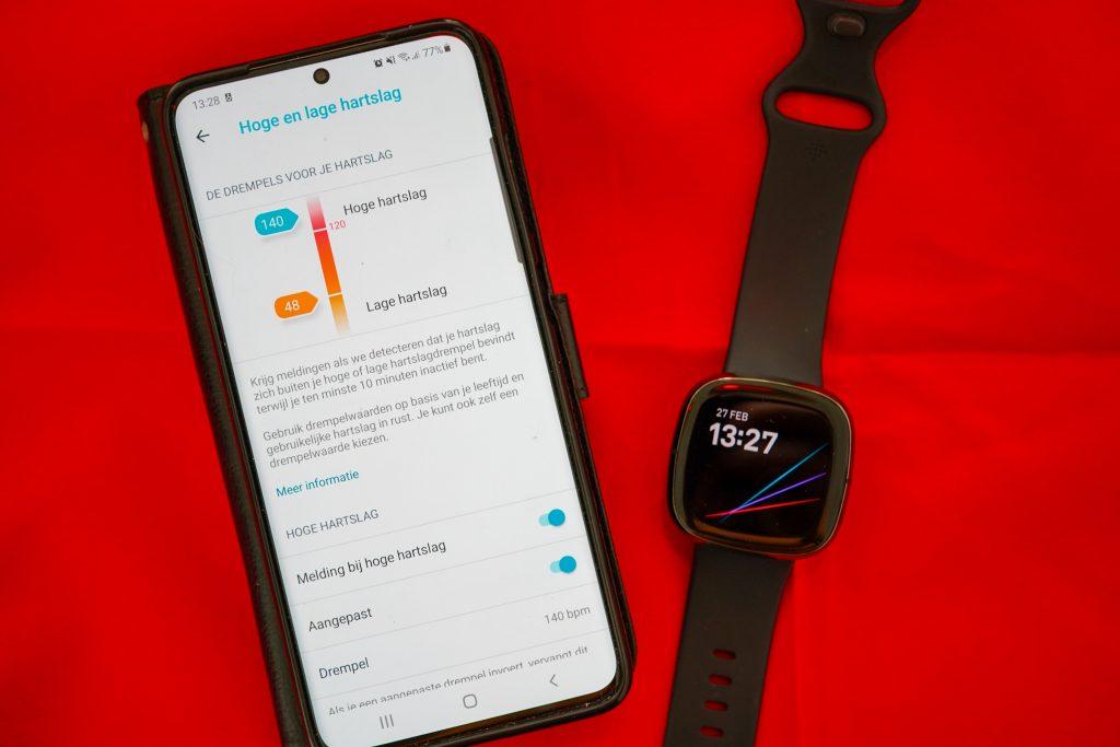 Fitbit Sense hoge lage hartslagwaarden drempel instellen meldingen